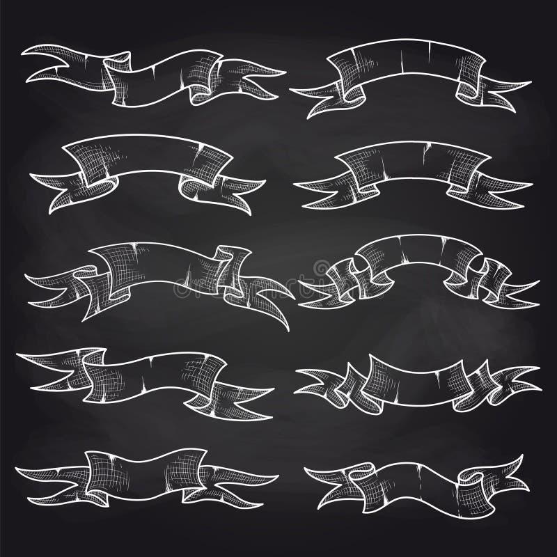 Rubans de vintage de craie réglés sur le tableau noir illustration de vecteur