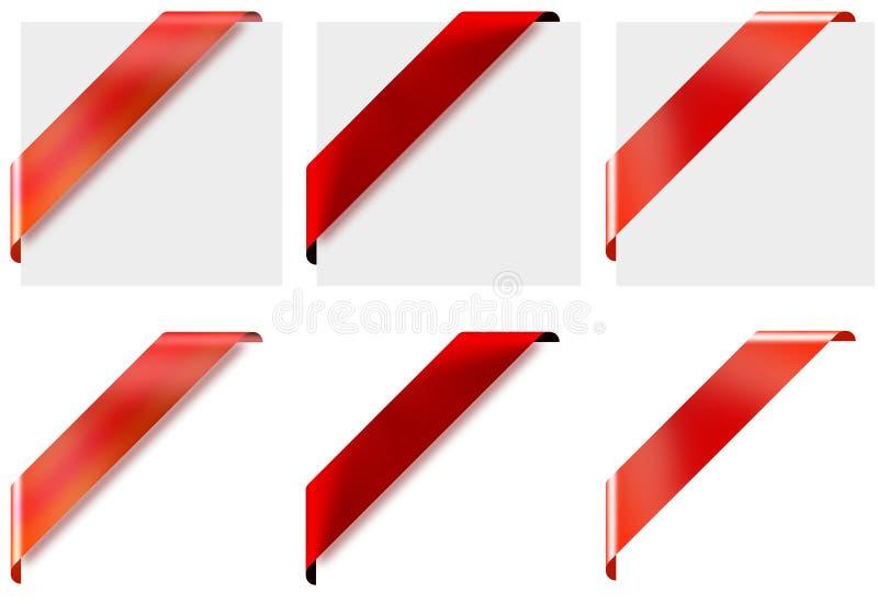 3 rubans faisants le coin rouges de style différent illustration stock