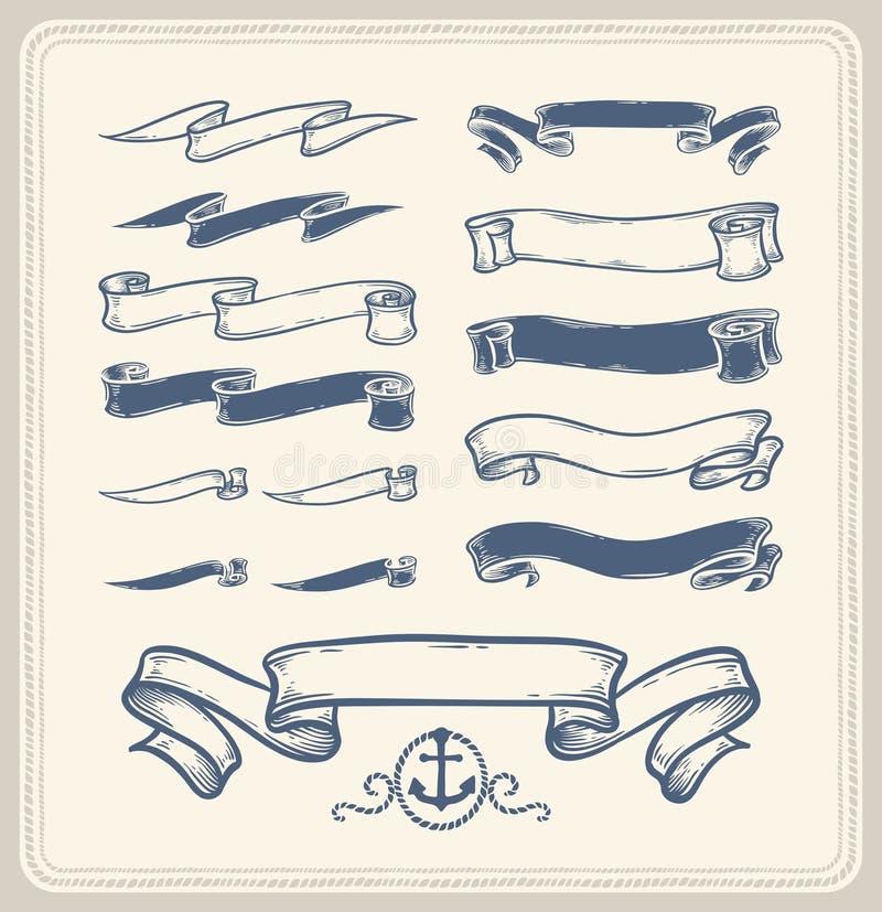 Rubans nautiques au-dessus du fond blanc illustration stock