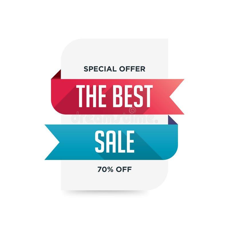 Rubans pliés bleus et rouges 70% outre de la conception de calibre de bannière de vente d'offre spéciale Offre sp?ciale de grande illustration libre de droits