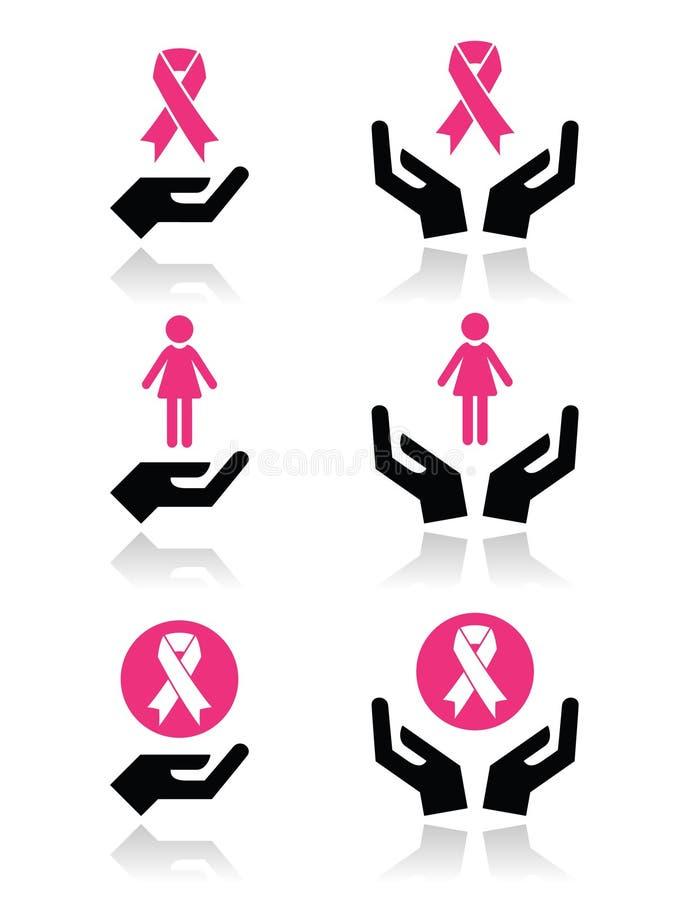 Rubans roses - conscience de cancer du sein avec des icônes de mains réglées illustration de vecteur