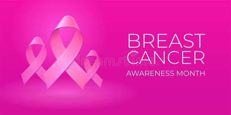 Rubans roses réalistes volants sur le fond rose-clair avec l'espace de copie Typographie de mois de conscience de cancer du sein illustration stock