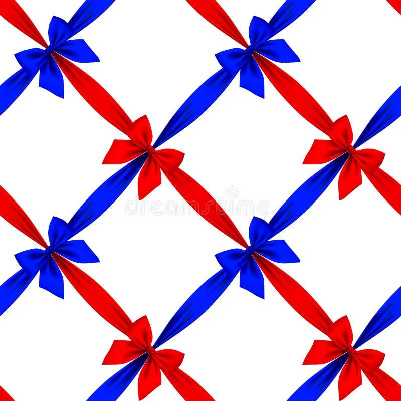 Rubans rouges et bleus et fond sans couture i de modèle de grille d'arcs illustration libre de droits