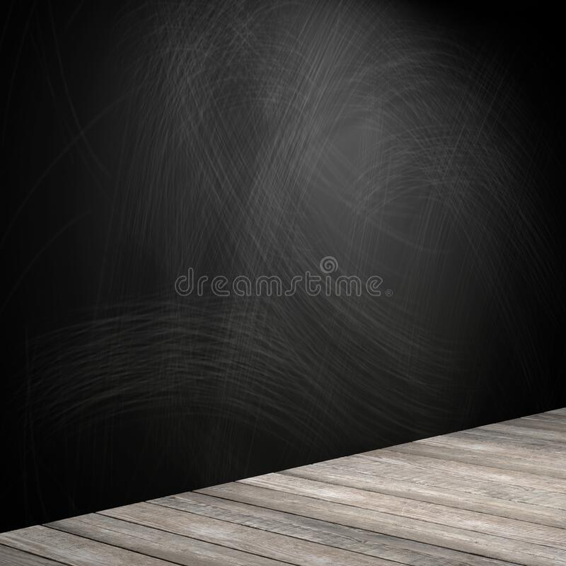 Rubbed out chalk on a blackboard, wooden floor royalty free stock photos