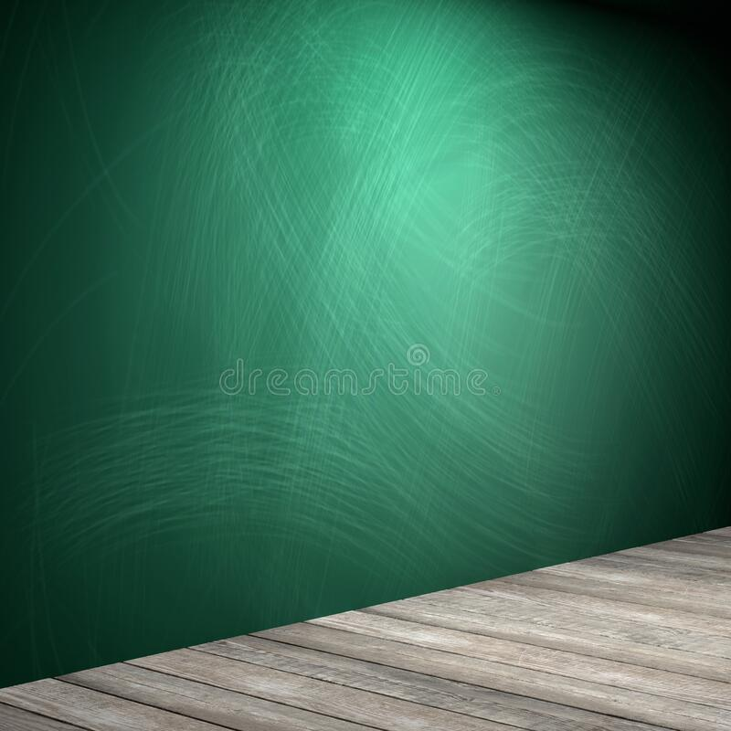 Rubbed out chalk on a greenboard, wooden floor royalty free stock photography