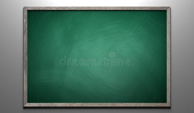 Rubbed out chalk on a greenboard with wooden frame royalty free stock images