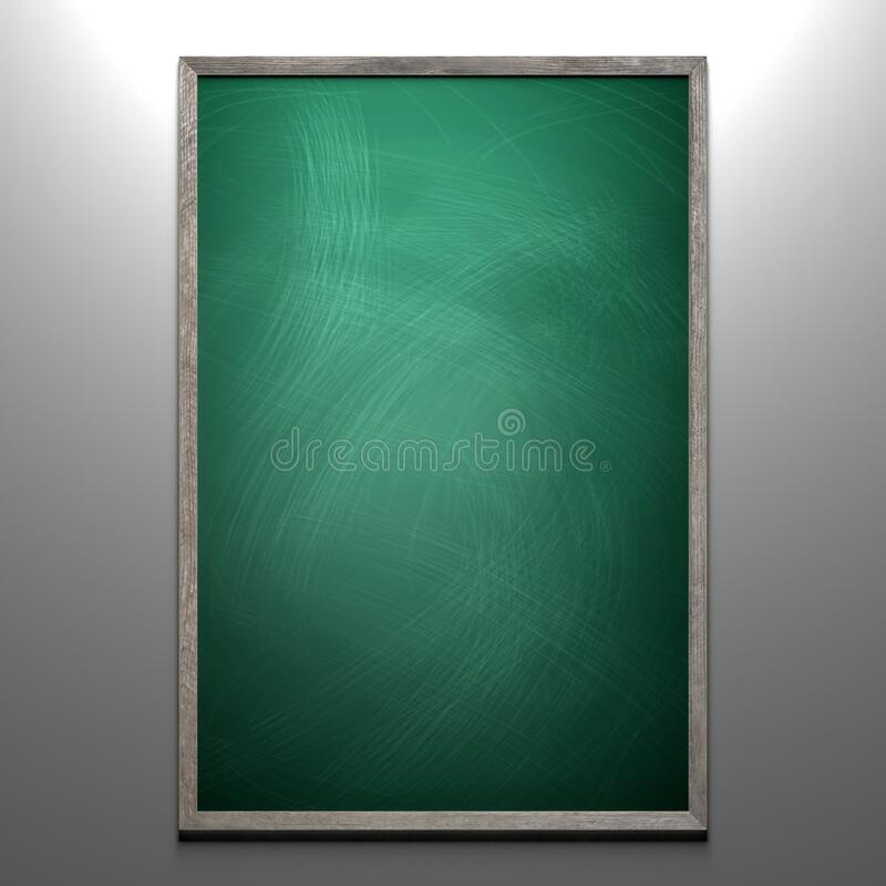 Rubbed out chalk on a greenboard with wooden frame royalty free stock photo