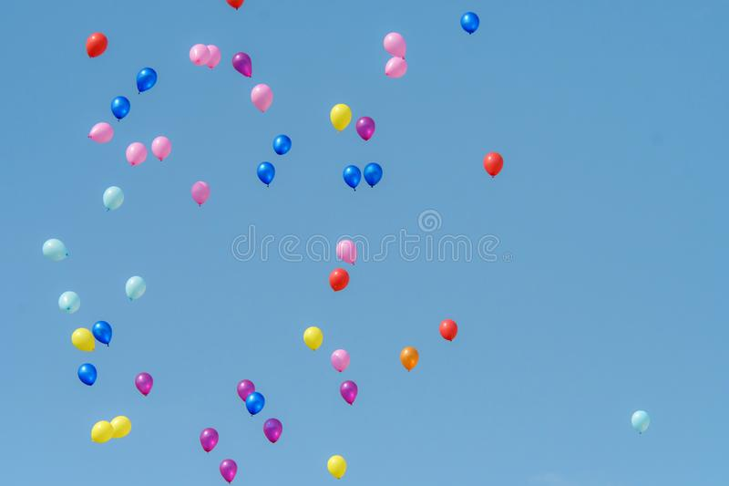 Rubber balloon with blue sky stock photography
