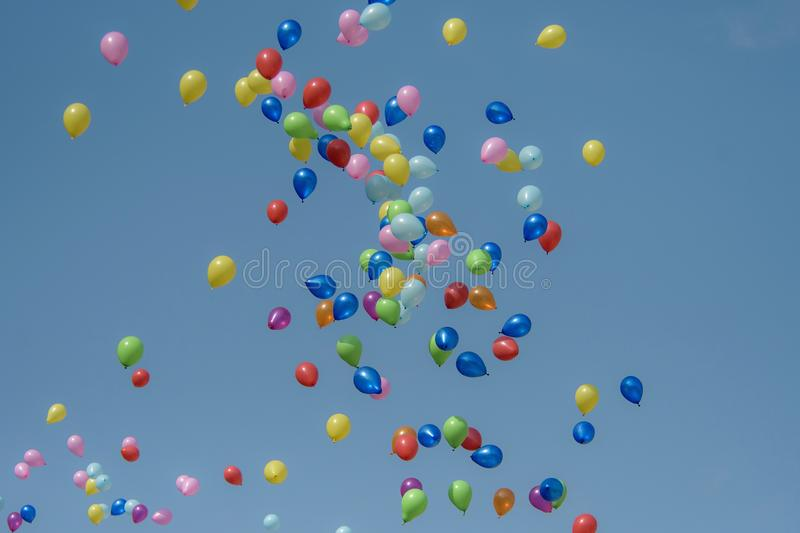Rubber balloon with blue sky royalty free stock photography