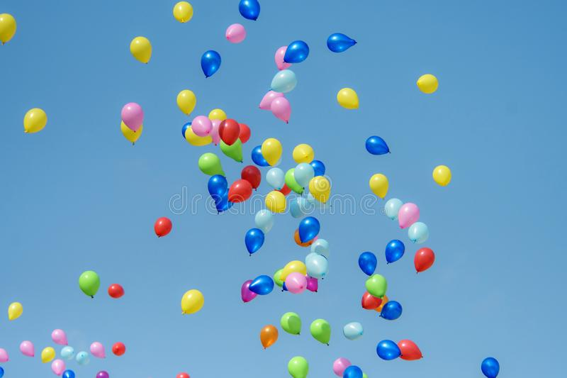 Rubber balloon with blue sky royalty free stock images