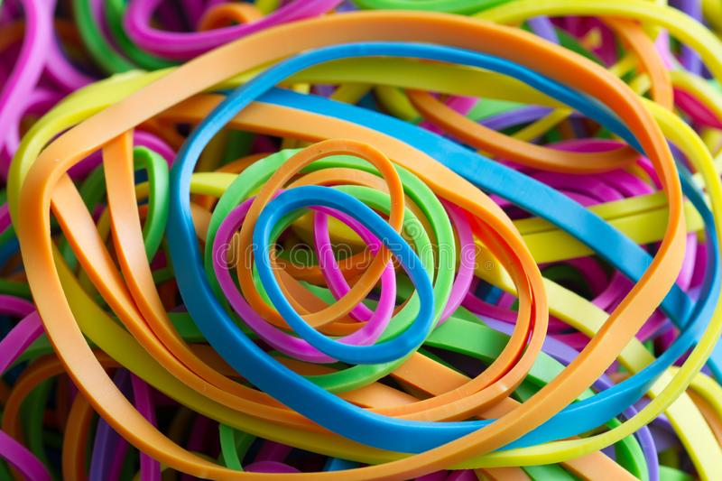Rubber band colorful abstract background texture closeup. Macro stock photo