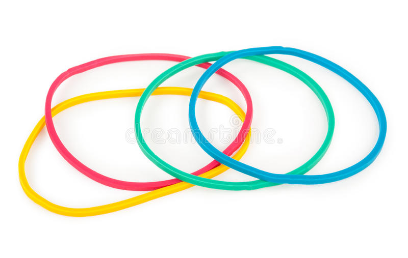 Rubber band. On white background stock image
