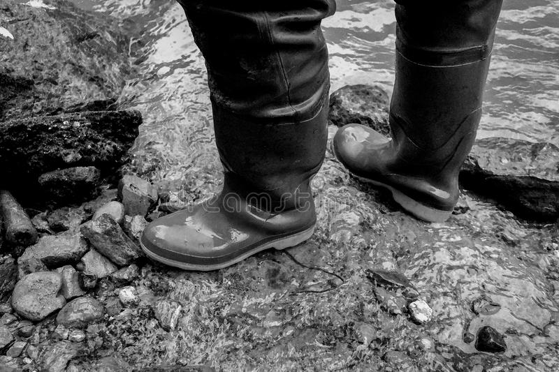 Rubber boots, aquarell painted photo, black and white. Two feet with rubber boots, black and white colored photo, aquarell painted stock photo