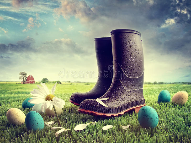 Download Rubber Boots With Easter Eggs On Grass Stock Photo - Image of scenic, green: 29683902