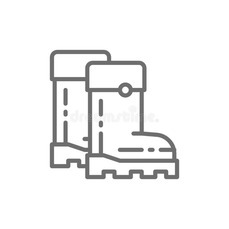 Rubber boots, gumboots, footwear line icon. royalty free illustration