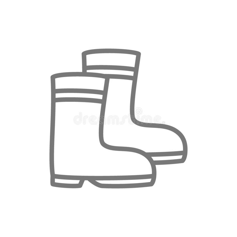 Rubber boots line icon. royalty free illustration