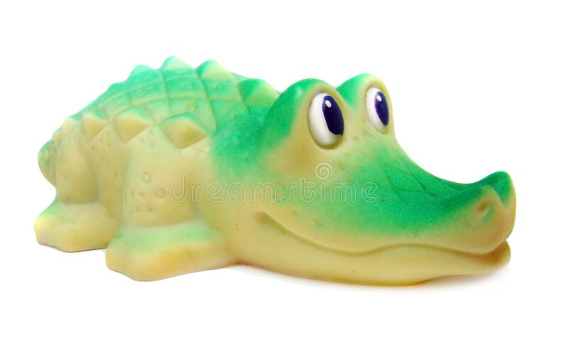 Rubber crocodile bath toy stock photography