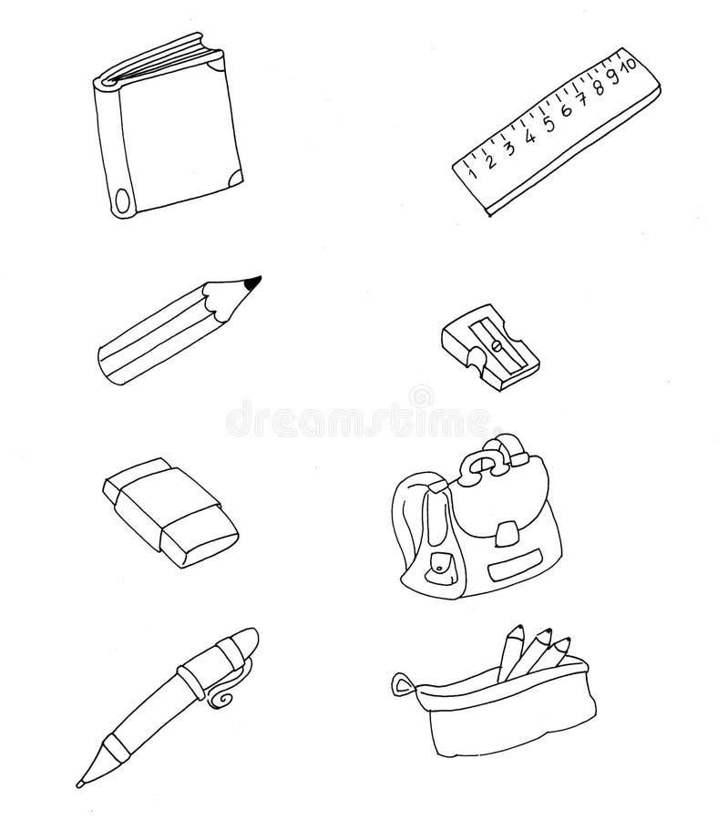 Rubber de schoolrugzak en notitieboekje van de leveringsscherper royalty-vrije illustratie