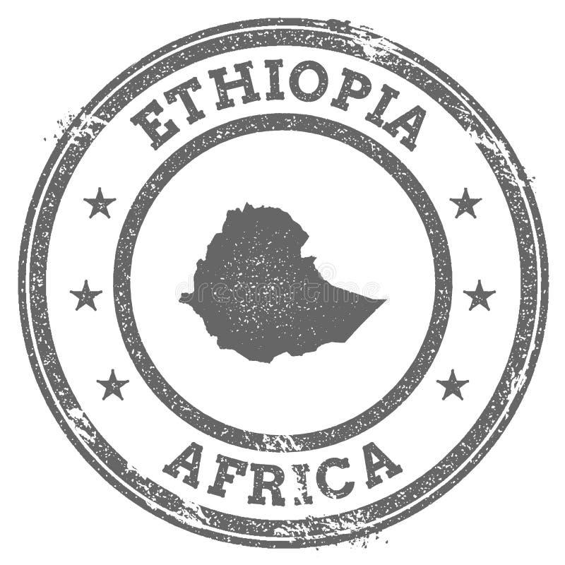 Rubber de zegelkaart en tekst van Ethiopië grunge royalty-vrije illustratie
