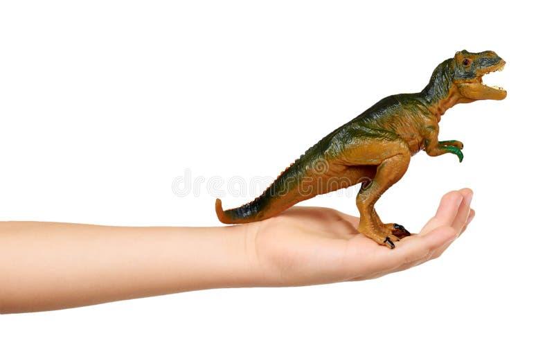 Rubber dinosaur toy. Prehistoric wild animal, danger beast. Kid hand with rubber dinosaur toy. Prehistoric wild animal, danger beast, T-Rex. Isolated on white royalty free stock photos