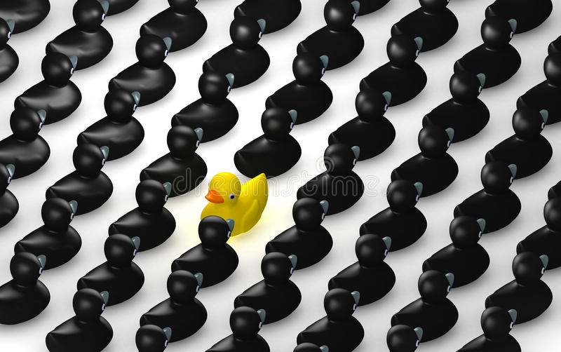 Rubber Duck Against The Flow Grid. A non-conformist depiction of a yellow rubber bath duck swimming against the flow of black rubber ducks vector illustration
