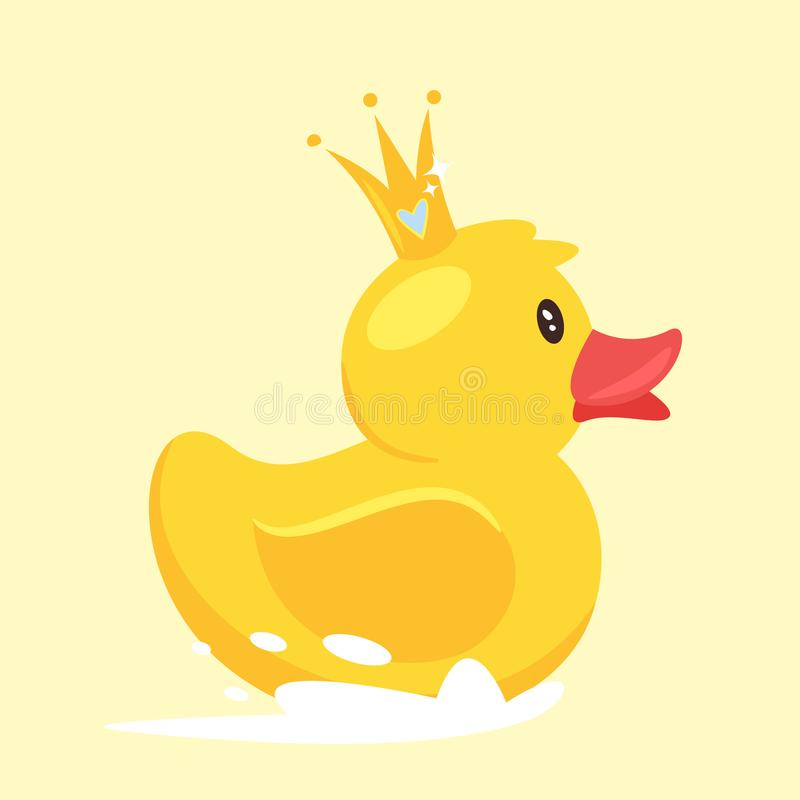 rubber duck with golden crown stock vector illustration of object