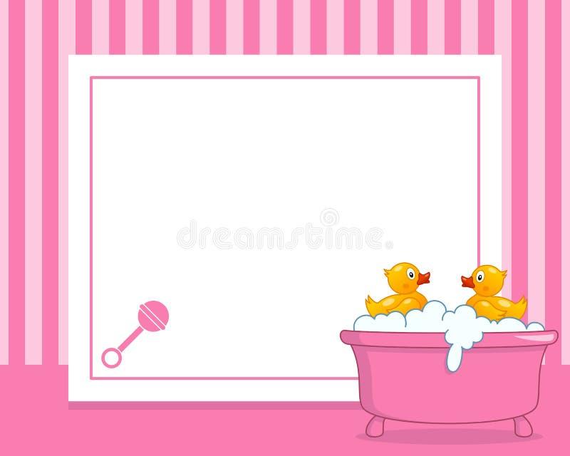 Rubber Duck Horizontal Girl Photo Frame Stock Vector - Illustration ...