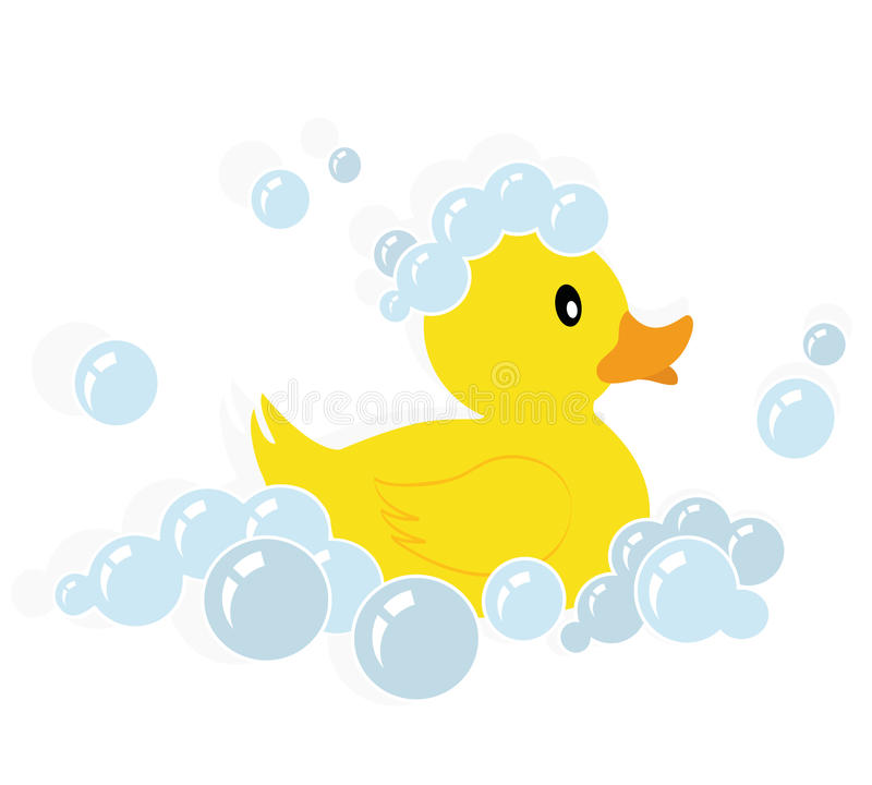 Rubber duck vector. Illustration of a yellow rubber duck in soap bubbles isolated on white background + vector eps file