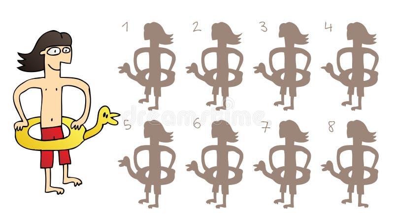 Rubber Duck Mirror Shadows Visual Game stock illustration