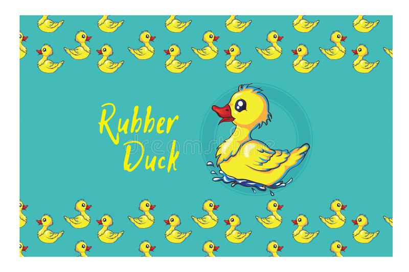 Rubber duck pattern with lots of yellow funny ducks. Cute rubber duck turned into a lovely pattern, rubber duck pattern with lots of yellow funny ducks royalty free illustration