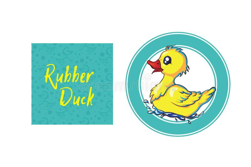 Rubber duck pattern with lots of yellow funny ducks. Cute rubber duck turned into a lovely pattern rubber duck pattern with lots of yellow funny ducks stock illustration