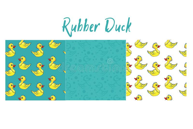 Rubber duck pattern with lots of yellow funny ducks. Cute rubber duck turned into a lovely pattern vector illustration