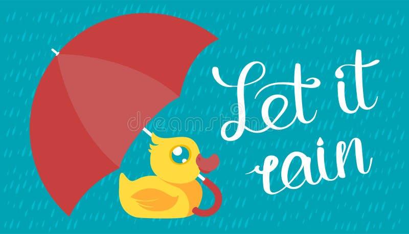 Rubber duck under umbrella stock illustration