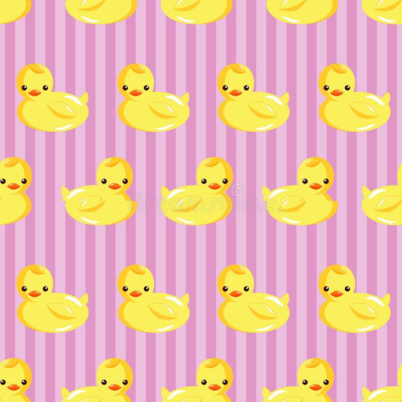Rubber Duck in vertical Striped Seamless Pattern. Rubber Duck in vertical Striped Background Seamless Pattern vector illustration