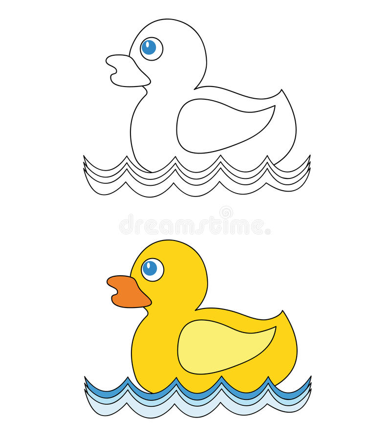 Rubber duck on water stock illustration