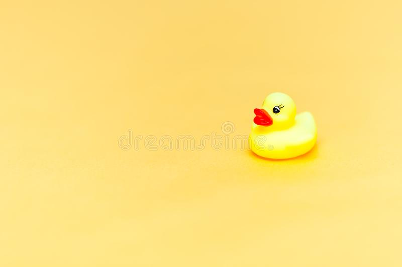Rubber duck on yellow background. Space for text. copyspace. Minimalism. Concept royalty free stock photography
