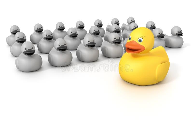 Rubber ducky menigte vector illustratie