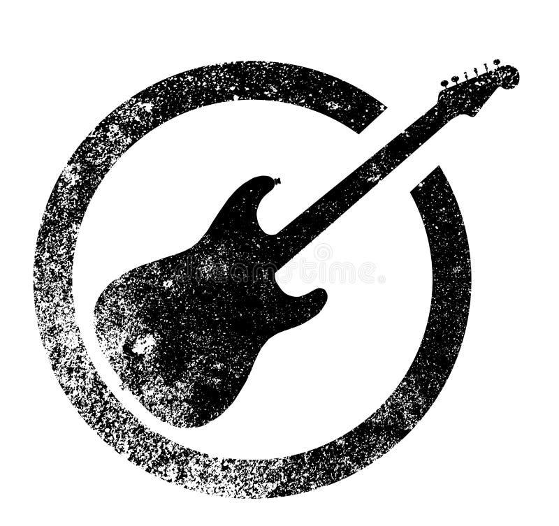 Rubber färgpulverstämpel för svart gitarr vektor illustrationer