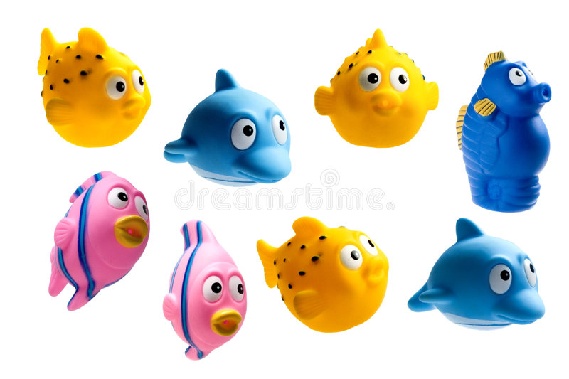 Rubber fishes. Isolated rubber fishes on the white background stock image