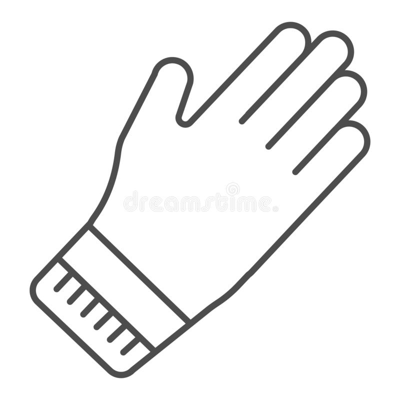 Rubber gauntlets thin line icon. Garden glove vector illustration isolated on white. Cleaning gloves outline style vector illustration