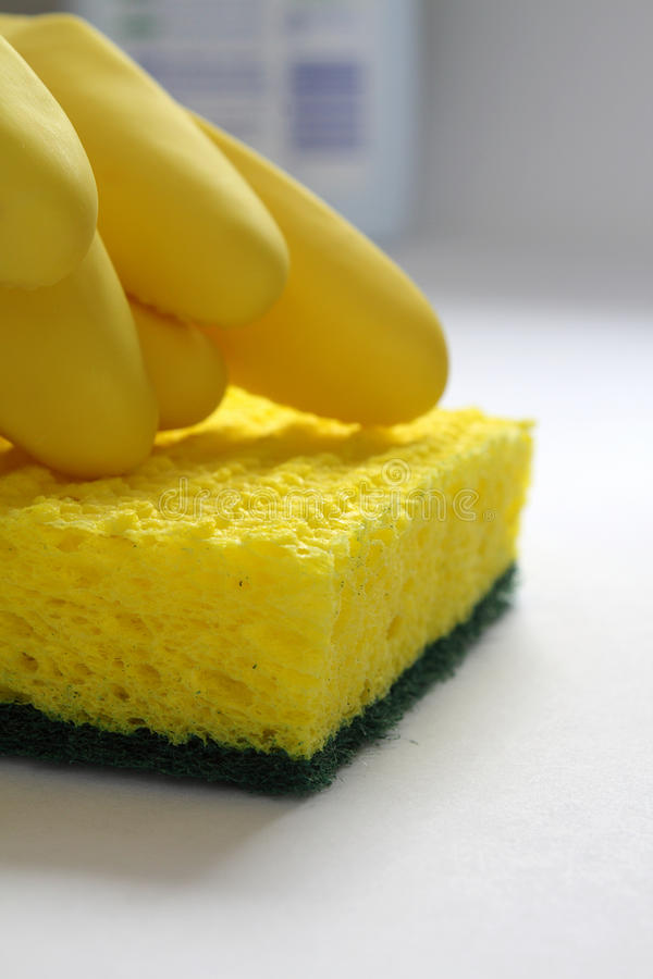 Free Rubber Gloves And Sponge Royalty Free Stock Image - 12706116