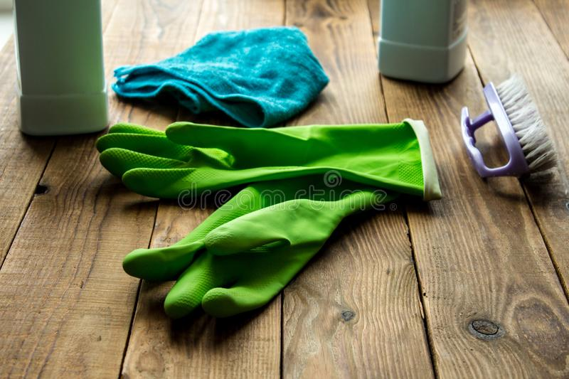 Rubber gloves brush duster royalty free stock photography