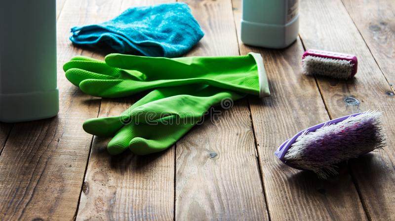 Rubber gloves brush duster royalty free stock photos