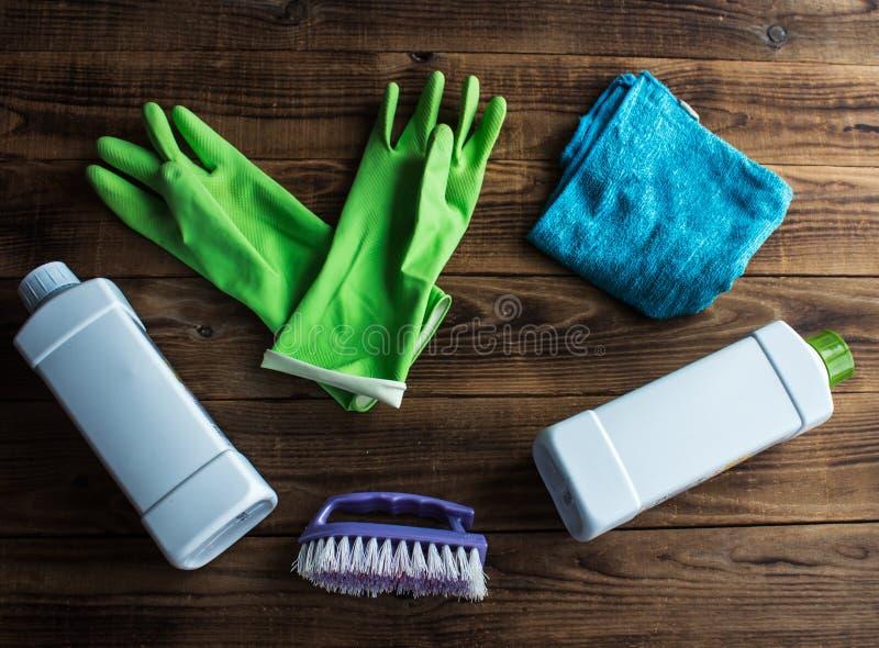Rubber gloves brush duster stock images