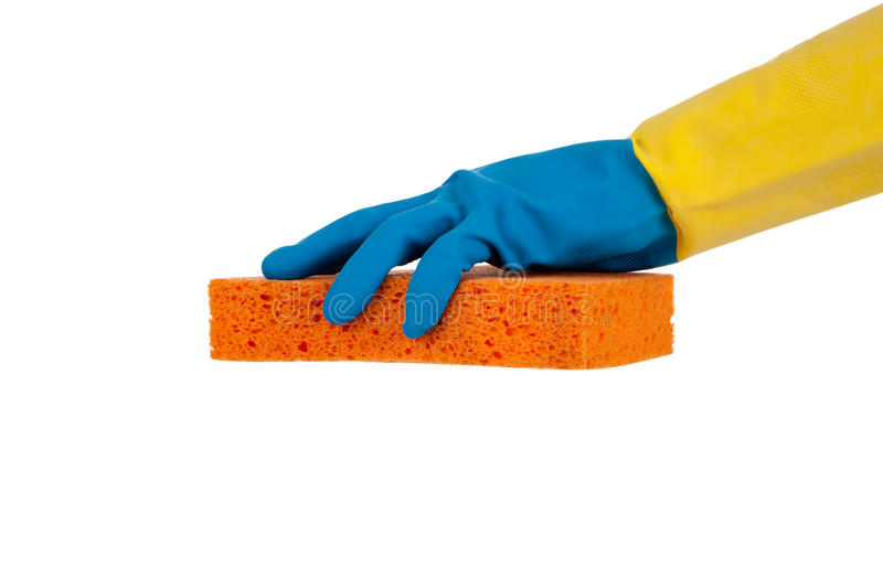 Download Rubber Gloves And Sponge With Copy Space Stock Image - Image: 12104257