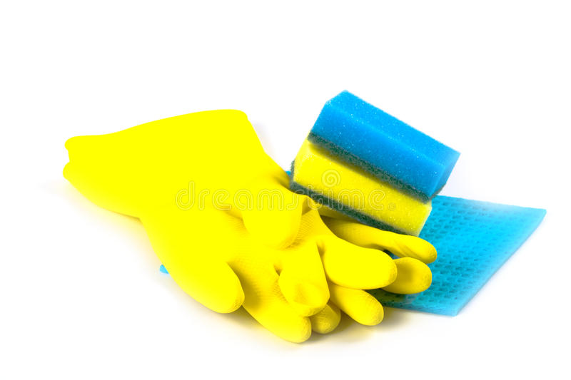 Download Rubber gloves and sponges stock image. Image of plastic - 15763617
