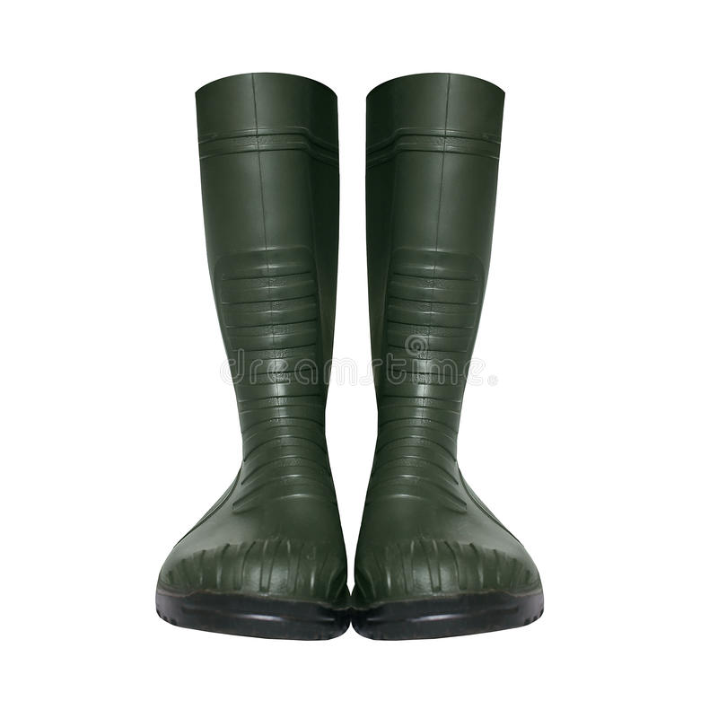 Rubber green boots isolated on a white stock photography