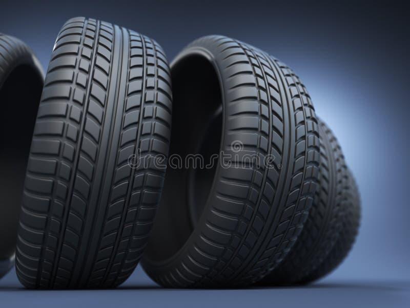 Rubber gummihjul eller däck 3D, på blått vektor illustrationer