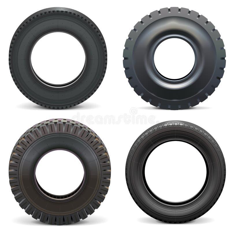 Rubber gummihjul för vektor stock illustrationer