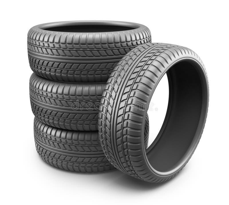 Rubber gummihjul. Hjul 3D, symbol  vektor illustrationer